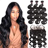 10A Body Wave Bundles with Frontal Human Hair Bundles with Lace Frontal (20 22 24+18, Natural Black) Resaca Peruvian Body Wave Hair Virgin Hair Ear to Ear 13x4 Frontal Closure with 3 Bundles