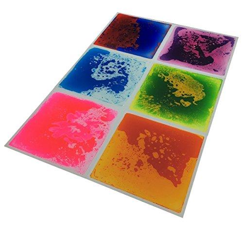 Art3d 6-Tile Multi-Color Exercise Mat Liquid Encased Floor Playmat Kids Safety Play Floor Tile, 16 Sq.Ft