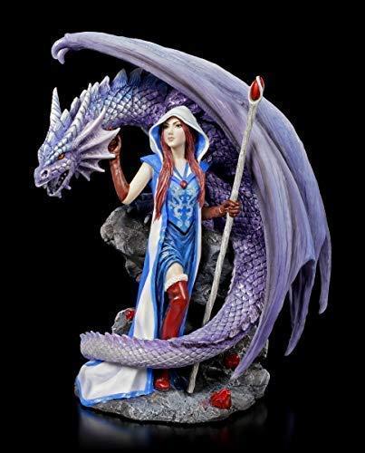 Fantasy Drachen Figur mit Zauberin - Dragon Mage | Gothic Deko-Figur, handbemalt, Motiv von Anne Stokes