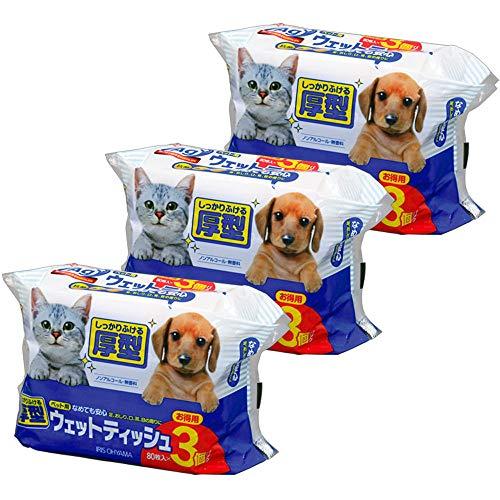 【3個セット】ペット用ウェットティッシュ 80枚入×3P PWT-3P