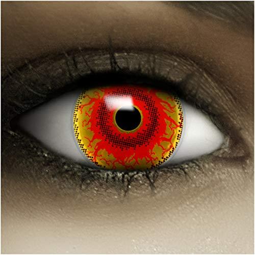 Farbige Kontaktlinsen Red Monster MIT STÄRKE -2.00 + Kunstblut Kapseln + Behälter von FXCONTACTS in rot, weich, im 2er Pack - perfekt zu Halloween, Karneval, Fasching oder Fasnacht