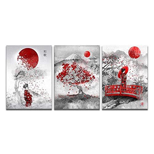 ZDanYA Peinture sur Toile Japonaise Fleur de Cerisier Art Affiche et Impression Murale Art Photo pour Salon décoration de la Maison 30x40cmx3 Pas de Cadre