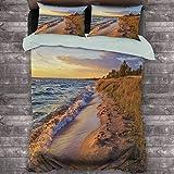 Toopeek Coastal Hotel Ropa de cama de lujo Sandy Calm Playa Océano Ondas Tranquilo Costa Ajuste Sol Poliéster - Suave y Transpirable (Queen) Azul claro, Amarillo Claro Claro Marrón Claro