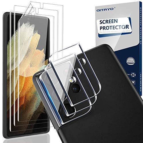 QITAYO Kamera Panzerglas+Schutzfolie für Samsung Galaxy S21 Ultra 5G, Elastische TPU Folie Displayschutzfolie für Samsung Galaxy S21 Ultra 5G, Unterstützen Fingerabdruck-ID, Hoch Transparenz