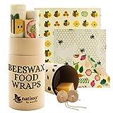 ♥ SOYEZ TOTALEMENT SÛRS DE L'EMBALLAGE DE VOTRE NOURRITURE! Tous nos produits sont créés & testés dans l'UE. Emballages en tissu enduit de cire d'abeille, avec ingrédients sains, non toxiques, naturels, approuvés LFGB&FDA: 100% coton bio certifié, ci...