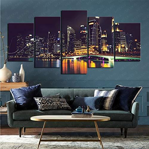 mmkow Imprima la Imagen enmarcada 5 Piezas de Pintura de Singapur Hecha por el Hombre sobre Lienzo Pintor Aficionado del Artista 50x100cm (Marco)