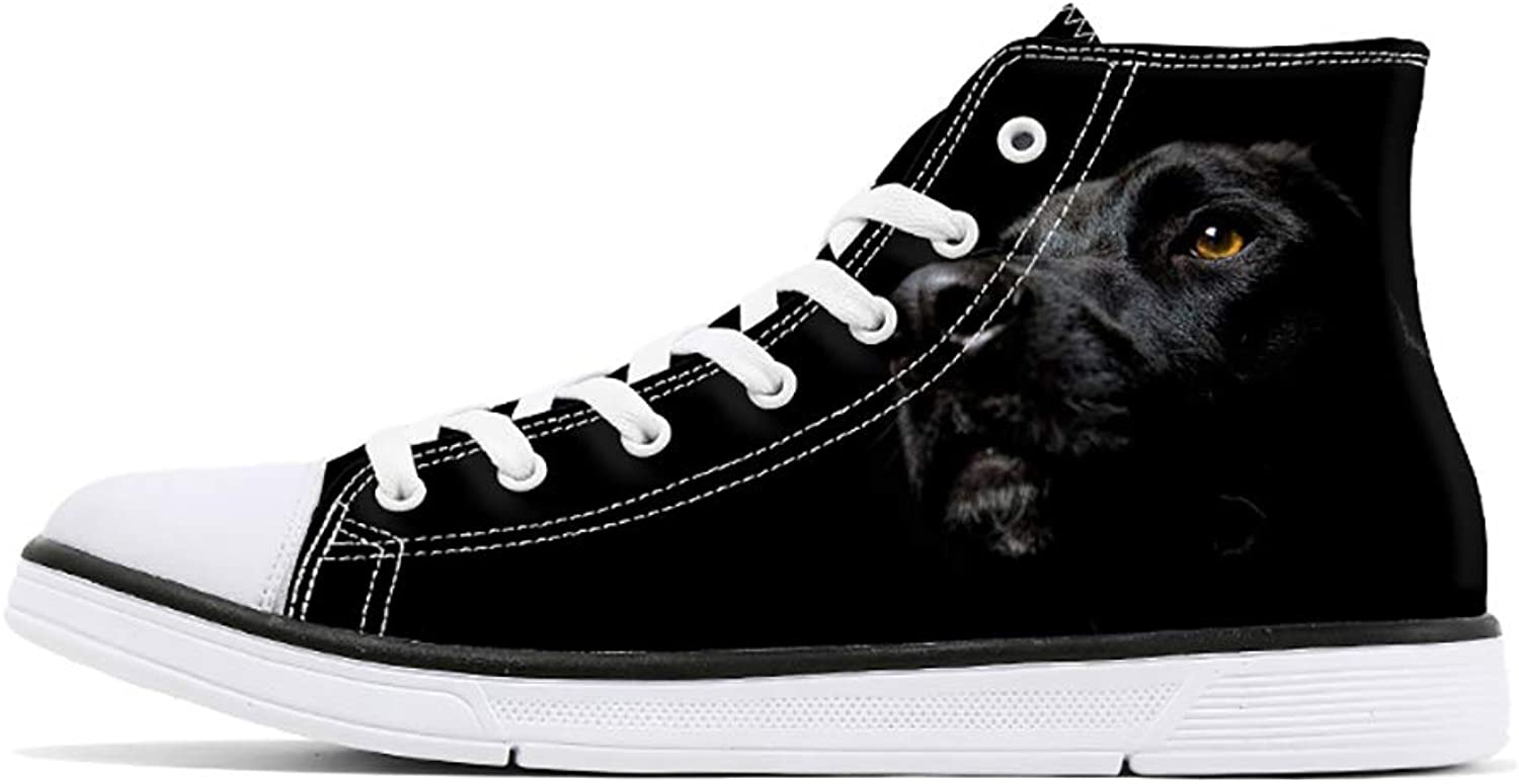 FIRST DANCE Cute Animal Print Woman Canvas shoes Dog Cat Print High Top Lace Up Flat Sneakers for Man Teens Boys Girls