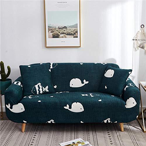 Funda de sofá Antideslizante de Poliéster Spandex Ballena Blanca Estampado,Verde Funda elástica Antideslizante Protector Cubierta de Muebles para sofá de 3 plazas(1 Funda de Almohada)