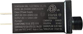 Ubill 29V 3.6W LED Power Supply 124mA LED Transformer Raintight IP44 Low Voltage Adapter UL ETL Listed Lighting Driver for LED String Light, Holiday Lighting