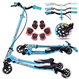 Y Flicker Scooter for Kids Ages 3-10, Fliker Swing Wiggle Scooter 3-Level Adjustable Height Foldable Kick Speeder Drifter for Boys and Girls (Pure Blue, Small)