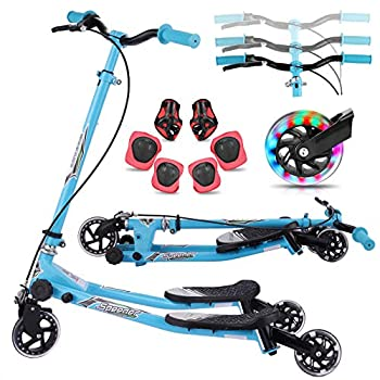 Y Flicker Scooter for Kids Ages 5-8 Fliker Swing Wiggle Scooter 3-Level Adjustable Height Foldable Kick Speeder Drifter for Boys and Girls Gifts  Pure Blue Small