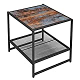VASAGLE Industrial End Table, Side Table with Mesh Storage Shelf, Nightstand with Metal Frame, Easy Assembly, Sturdy, for Living Room, Blue Patina and Black ULET53XB