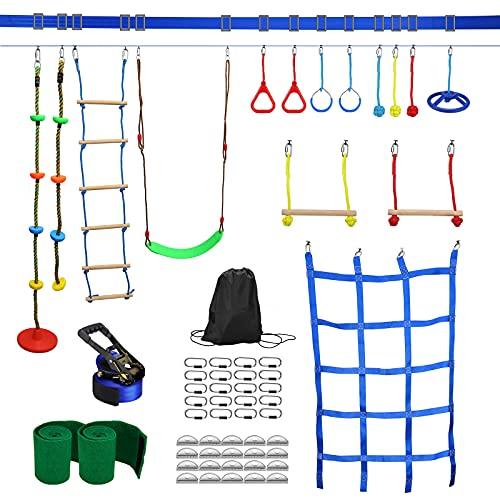 Ninja Warrior Hindernisparcours Outdoor-Spielplatz Kletterausrüstung 15 Set Kit Schaukelsitz Kletternetz 50 ft Tragfähigkeit 1000lb mit Aufbewahrungstasche