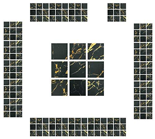 CYJZHEU Baldosas Adhesivas Suelo pvc, 20 Pieza Pegatinas para Azulejos de Cocina 10x10 Azulejos autoadhesivos Impermeable Para Baño, Sala de Estar, Pegatinas de Pared, Decoración Del hogar (Negro)