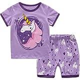 MIXIDON Niña Pijamas Unicornio Infantil Verano Ropa Chica Manga Corta(Unicornio3,6 Años)