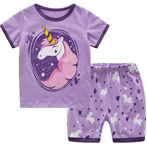 Conjunto de pijamas de Navidad MIXIDON, conjunto de pijamas de jirafa, 100% algodón, de manga larga, 2 piezas para niños Unicorn3 2-3 Años