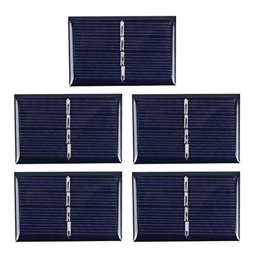 Haihuic 5Pcs 2V 140mA 0.28W Paneles solares epoxi Célula Solar policristalina para el Kit de Cargador de batería Solar de Bricolaje, Mini Celdas solares