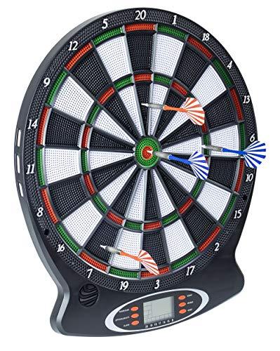 L.A. Sports Elektronische Dartscheibe 1-8 Spieler 6 Softdarts Pfeile Dart-Board LCD Score Display