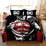 Probuk DC Flash Batman Superman Ropa de cama 100% microfibra funda nórdica infantil Teen Joven Chica Juego de cama con funda de almohada (A-06,220 x 240 cm (80 x 80 cm)