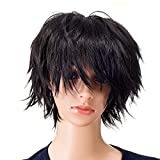 SWACC Unisex Fashion Spiky Layered Short Anime Cosplay Wig for Men and Women (1B-Off Black)