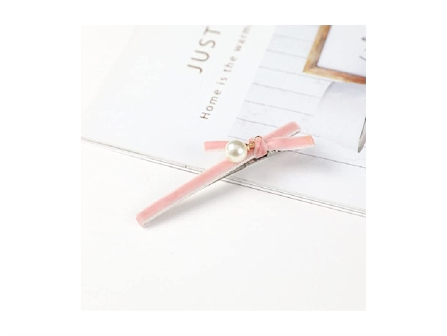 表向き行列下にOsize 美しいスタイル ボウタイパールベルベットヘアクリップダックビルクリップヘアアクセサリー(ピンク)
