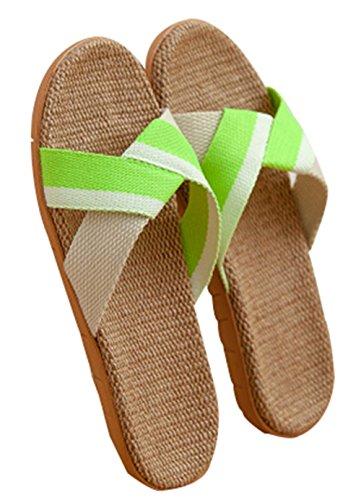 Pigeon Fleet Zapatillas de Verano de Lino para Mujer Sandalias de casa Antideslizantes Tejidas a Mano, Verdes