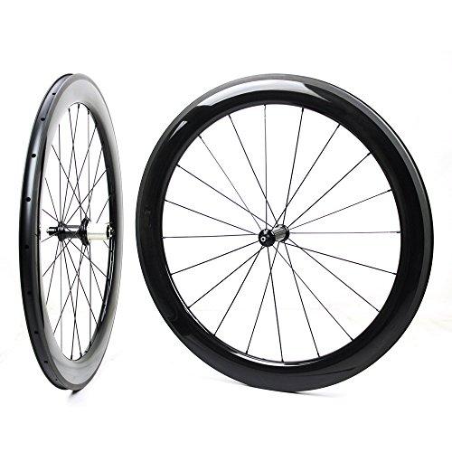 Yuanan 60mm 700C Road Bike Carbon Laufradsatz Aero Fahrrad Laufrad mit Bitex Gerade Pull Hub Stahlrohr Tubeless