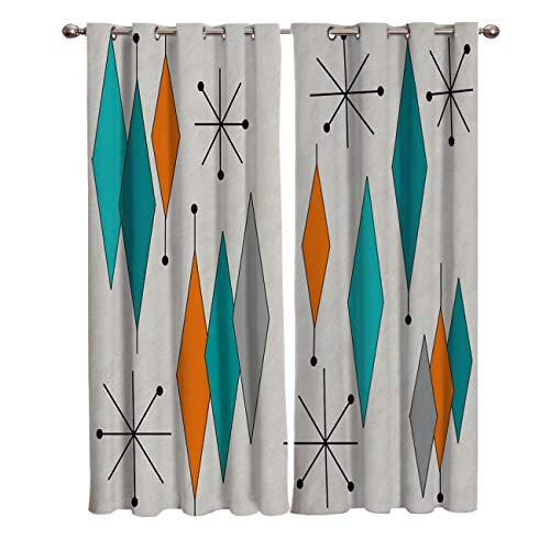 "Europen Retro Prismatic Modern Mid Century Darkening Blackout Window Curtain Panels Prismatic Mid Century Draperies Window Treatments With Solid Grommet for Living Room 2 Pieces 40""W x 84""L"