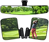 HKOO Newest Golf Cart Folding Side Mirrors and Rear View Mirror 16.5' Extra Wide Panoramic Golf Cart Mirrors Fits for Club Car EZGO Yamaha Combo Pack