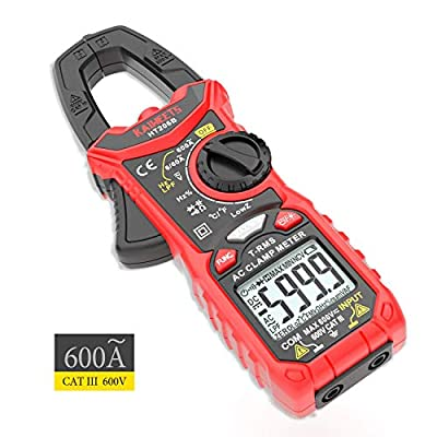 KAIWEETS Digital Clamp Meter T-RMS 6000 Counts, Multimeter Voltage Tester Auto-ranging, Measures Current Voltage Temperature Capacitance Resistance Diodes Continuity Duty-Cycle (AC Current)