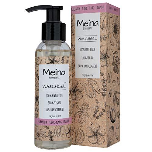 Meina Naturkosmetik - Bio Waschgel mit Geranium, Ylang-Ylang und Lavendel (1 x 120 ml) Vegan Face Wash - wirkt stark pflegend, heilend und beruhigend