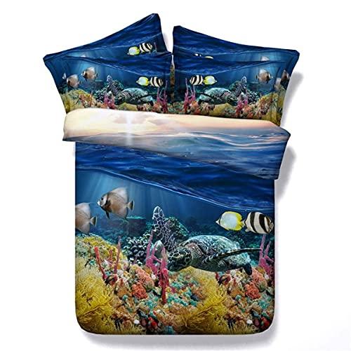 Chtom Bedding Duvet Set Doppio Singolo Beach 3D Bedding Set di Stampa (Sottomarino Paesaggio) (Dimensioni: 240 * 225 Centimetri) (Color : -, Size : 200 * 220cm)