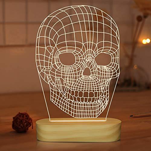 Lámpara de calavera 3D de ilusión óptica LED luz nocturna para niños y hombres, colores blanco cálido decoración de habitación lámparas de mesa