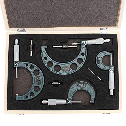 LIPENLI 4pcs el exterior del sistema de herramienta maquinista micrómetro 0-4' 0-100 mm 4 Precisión 0,01 mm Precisión de carburo Micrómetro Set