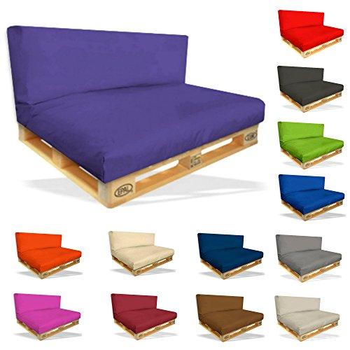 Palettenkissen Set-2er Set Sitzpolster 120x80x15cm+Rückenkissen 120x40x10cm–In&Outdoor Palettenpolster–Kissen Möbel Sofa Sitz Paletten Polster Auflage (2er Set ca.120x80x15cm x 120x40x10cm, Lila)