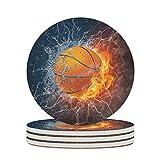 BTJC88 Posavasos de cerámica con diseño de baloncesto sobre fuego, de cerámica lisa, personalizable, moderno, para amantes de los deportes al aire libre, color blanco, 6 unidades
