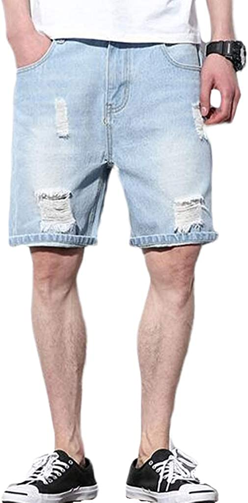 Forthery Men's Casual Summer Distressed Button up Stretch Ripped Jeans Shorts with Repair Rips