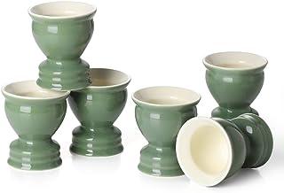 DOWAN Porcelain Egg Cups, Egg Serving Cups, Egg Holders for Hard Boiled Eggs/Soft Boiled Eggs, Dishwasher Safe, Utensil Ki...