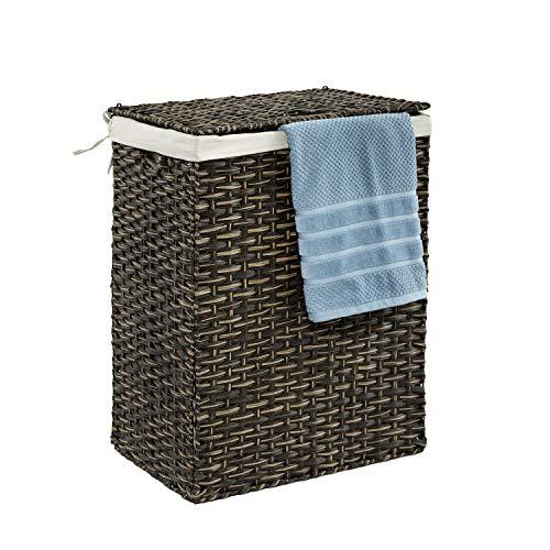 Seville Classics Handwoven Lidded Removable Canvas Liner Laundry Hamper Bin, Rectangular, Mocha Brown