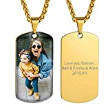 GoldChic Jewelry 18K Gold Plated Personalized Engraved Photo Dog Tag Necklace with Protective Film, Customize Picture Necklace for Men Keepsake Jewelry