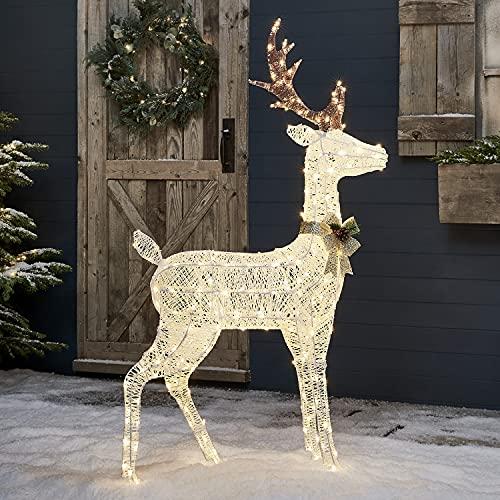 Lights4fun 260er LED Weißes Harewood Rentier Glitzer Hirsch Figur warmweiß 130cm Timer Weihnachtsbeleuchtung für außen und innen Weihnachtsfigur
