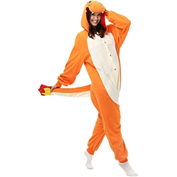 Adulto Charmander Onesie Pijamas Forro Polar Pijamas Cartoon ...
