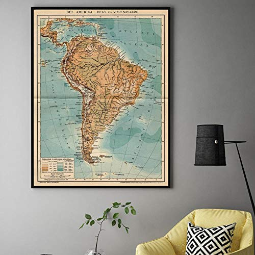 KBIASD Americ map Antique Relief Map of South America from Exquisite Designs Canvas Wall Art Home Decor Print Painting- 60x80cm unframed