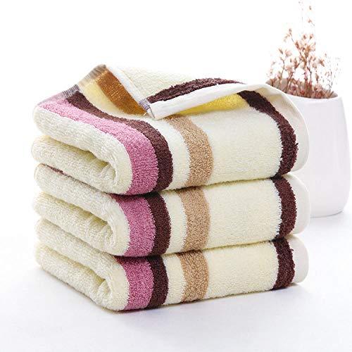 FGHOMEAQMJ Algodón Puro 32 Hilos Elevar Barras de Color Toallas para Hombres y Mujeres Espesar Absorbente Toallas de Limpieza para Adultos-Purple Strip_35 * 72cm