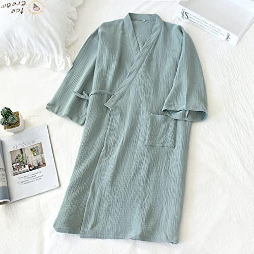 KASLXA Primavera y Verano de algodón para Mujer camisón Fino para Hombre Bata de baño Pijama de Servicio a Domicilio-a9-L