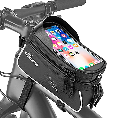 """WOTOW Bicycle Phone Mount Bag, Waterproof Bike Front Touch Screen Cell Phone Holder Top Tube Frame Handlebar Cycling Accessories Bag Sensitive Reflective Fits for iPhone 13 Xs Max Pro Plus Up to 6.7"""""""