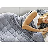 CosyLife Satin Fabric Weighted Blanket for Kids | Adult | 48'x72' | for Individual Between 140-180 lbs | Twin Size Bed | 15lb / Grey