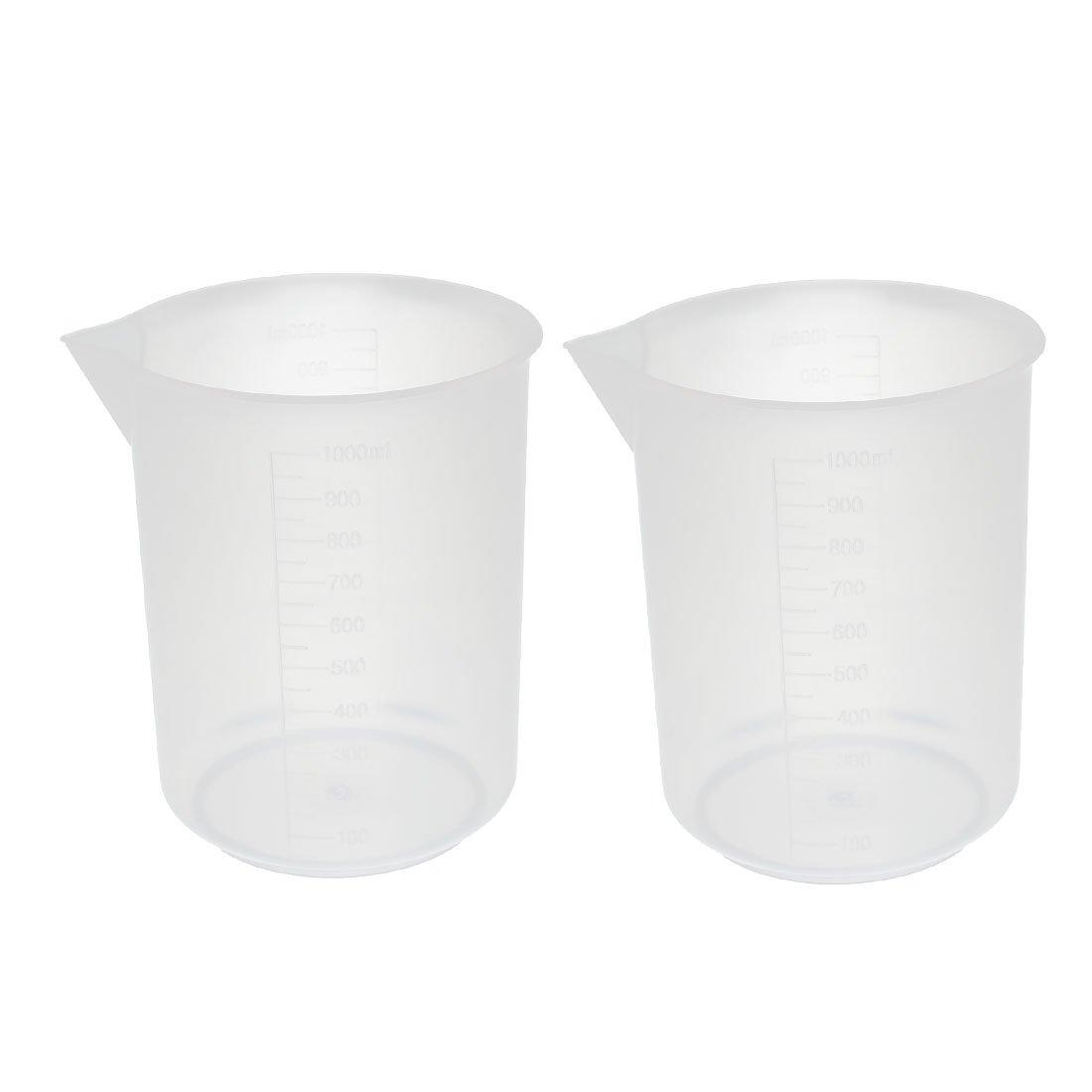 uxcell 2Pcs Lowest price Boston Mall challenge Kitchen Labotary 1000mL Po Cup Plastic Jug Measuring