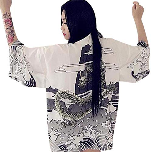 POOMALL Ropa de protección solar al aire libre del brazo de la manga de la camiseta de la capa de golf anti-UV, kimono Cardigan 2020 Vintage Waves Casual dragón verano impresa gasa de protección solar