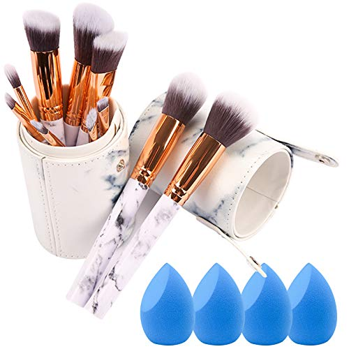 Marble Makeup Brush Set With Case - 10 PCS Marble Makeup Brushes - 4 PCS Makeup Sponges - Makeup Brush Holders - Professional Beauty Blender with Brushes Set(15 pieces)